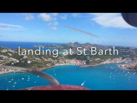 saint barthelemy  plane Landing cockpit view cessna 172 ( runway 10)