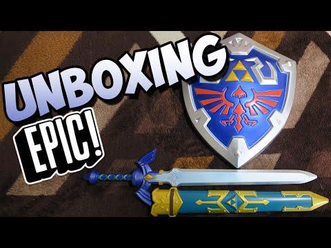 UNBOXING EPIC! ZELDA! Master Sword! + Hylian shield