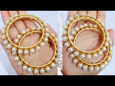 How To Make Designer Pearl Bangles//Latest Model Bangles//Beautiful Bangles At Home..!