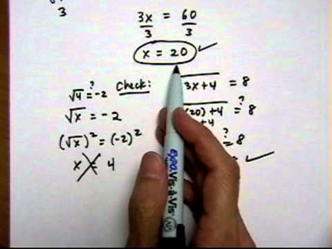 solve square root equation with one square root - (cr).mov
