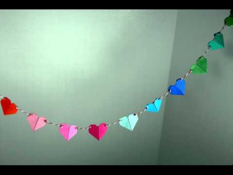 Multi-colored Origami Heart Garland by Meligami