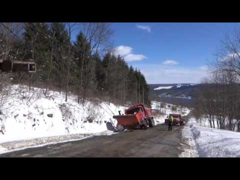 Snow Plow Truck Stuck In Ditch - Recovery