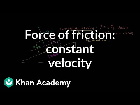 Force of friction keeping velocity constant | Physics | Khan Academy