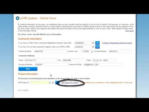 Module 1: Online Certified Payroll Reporting, Contractor and Project Information (3:26)