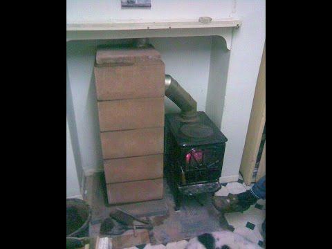 Masonry wood stove heat exchanger