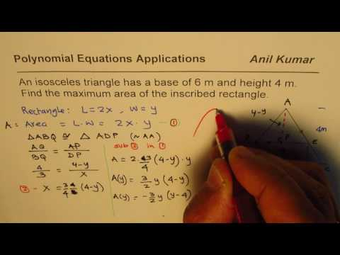 Polynomial Application to Find Maximum Area of Rectangle Inscribed in Isosceles Triangle