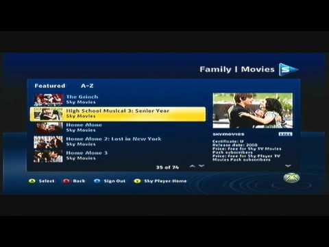 SKY ON XBOX 360 HD
