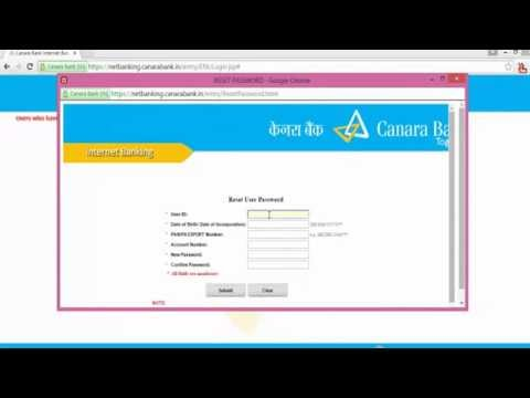 How to reset Canara Bank Net banking password