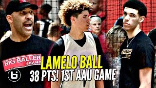 LaMelo Ball Gets SAUCY in 1st AAU Game W/ LaVar Coaching & Lonzo Watching!! Melo Leads Team Win!