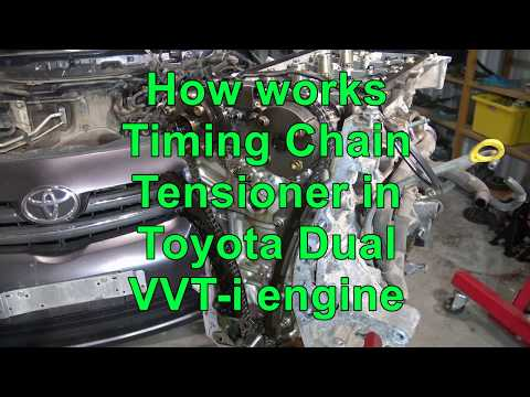 How works Timing Chain Tensioner in Toyota Corolla Dual VVT-i engine. Years 2007 to 2018