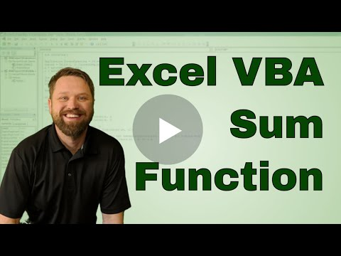 Excel VBA Coding the SUM Function as a Macro