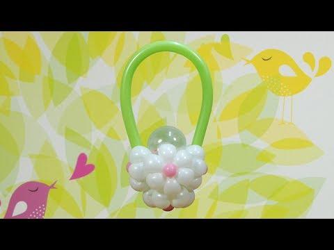 풍선아트 017 Balloon Flower Basket with Candy (풍선 사탕 꽃바구니)