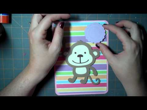 Let's Get Crafty # 40 Monkey First Birthday Card