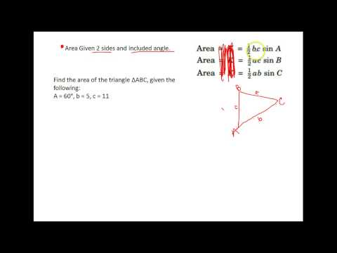Trig -- U2A4 Area of triangles fiven 2 sides and incl angle