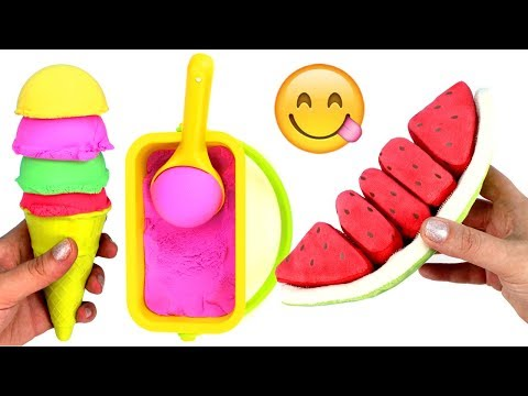 Kinetic Sand Ice Cream Learn Fruit Names with Toys Learn Colors Toy Fruit Kinetic Sand Play for Kids