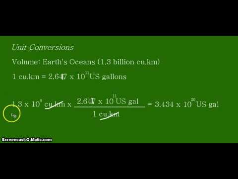Unit Conversion: Cubic Kilometers (km^3) to US Gallons of the Earth's Oceans