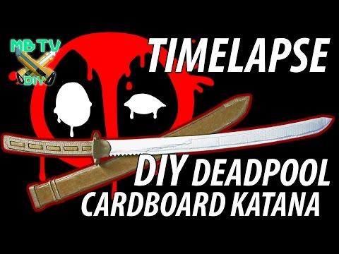 Deadpool Movie DIY Cardboard Sword / Katana Full Timelapse