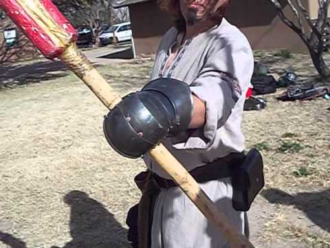 Testing of 4130 spring heat treated gauntlets with steel swords