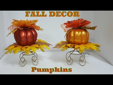 DIY PUMPKIN FALL CENTERPIECES | DOLLAR TREE FALL DIY | FALL 2017
