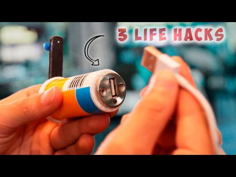 3 Simple Life Hacks  - Cell Phone Emergency Charger USB