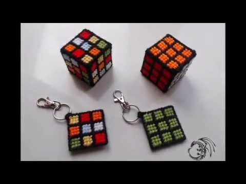 How to make Mini Plastic Canvas Rubik's Cube & Keyring