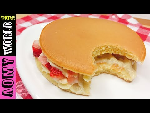 Japanese Pancake | Dorayaki Strawberry Cream Cheese Filling | NO BAKE | YUMMY ❤