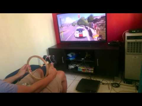 WRC4 using DIY steering wheel with pedals and Handbrake
