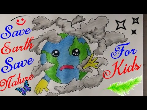 SAVE EARTH Cartoon Drawing Step By Step For Kids || Save Water, Save Trees, Save Future | guru 1002|