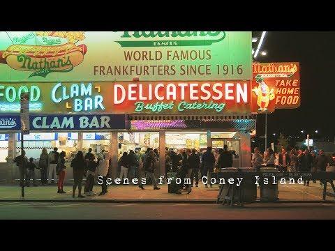Coney Island Nightlife. Luna Park Boardwalk scenes. Brooklyn New York City 4K
