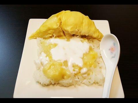Sticky rice with durian dessert, bangaem bay damnaeb thouren ( បង្អែមបាយដំណើបធូរេន ) Khmer