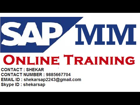 SAP MM WM Online Training by Shekar 15+ years of real time experience, 400+ live and online batches