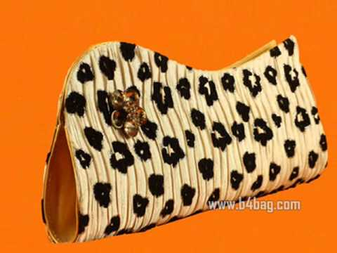 Cool Tiger Cream/Black Clutch Purse Steel Chain Handle 1016
