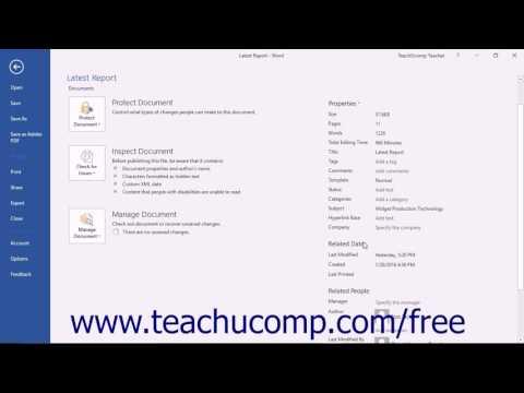 Word 2016 Tutorial Setting Document Properties Microsoft Training