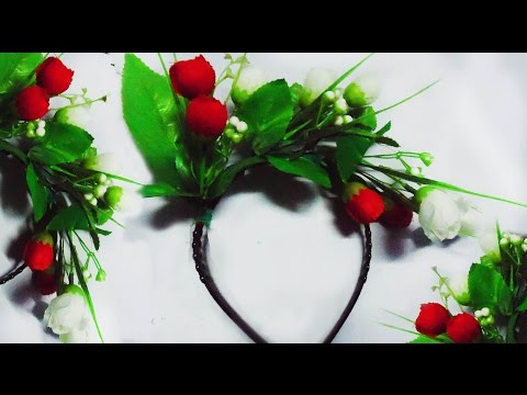 How To Make A Beautiful Floral Hair Band by using artificial flower. Hair band making tutorial.