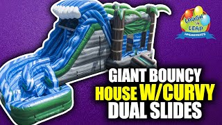 Bounce House Water Slide | Hurricane Inflatable Bouncy House with Double Curve Slide for Rent