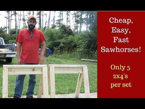 Build a Pair of Simple Sawhorses!  Strong, Cheap, Stackable