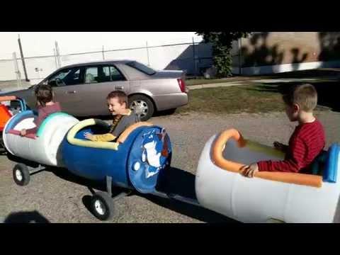 Handmade DIY Pokemon Train kids birthday party RECYCLING BARRELS