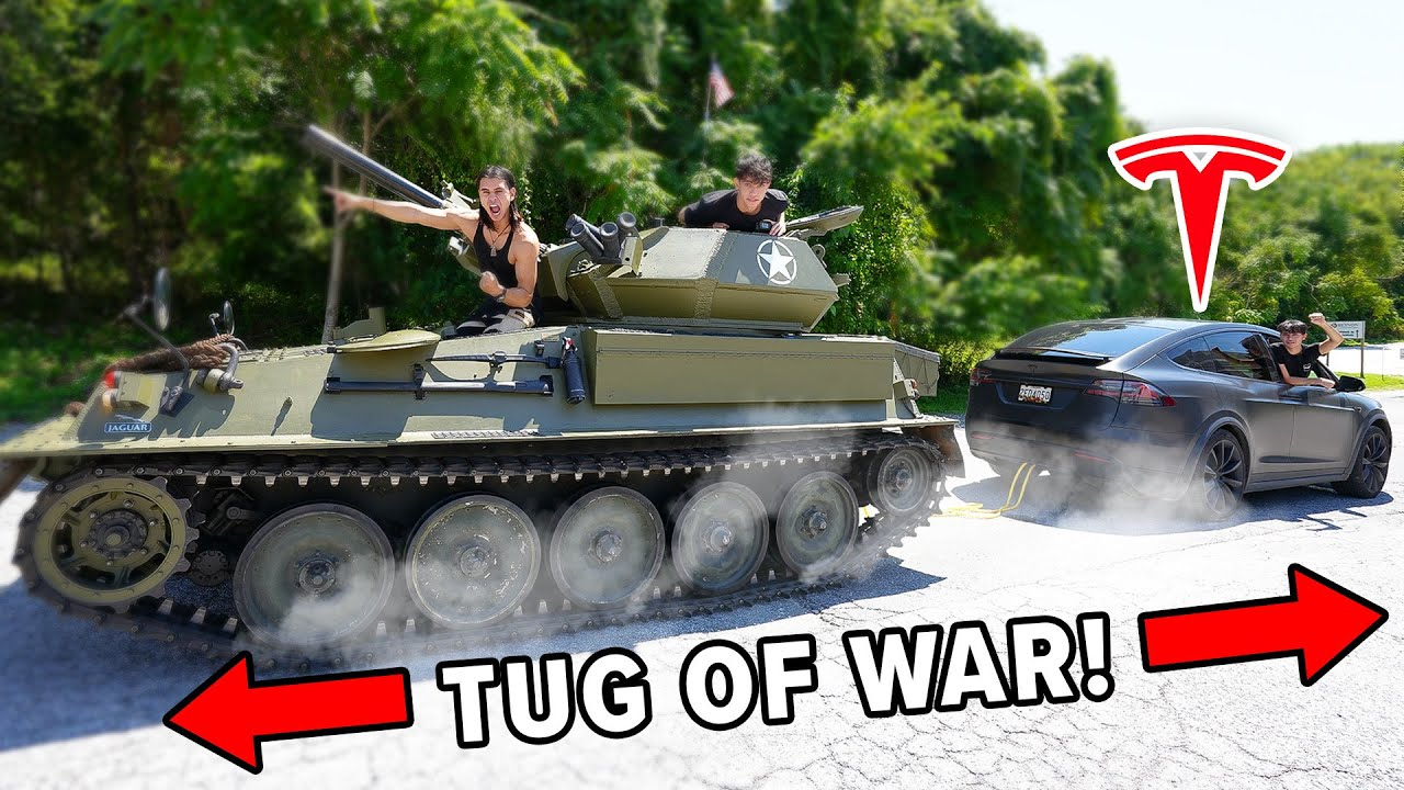 Tesla Model X vs TANK - TUG OF WAR!