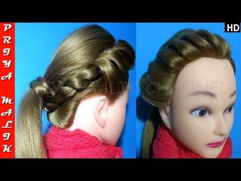 Easy 2 Min. Side Twist Ponytail Hairstyle For Beginners - Easy Hairstyle | Priya Malik