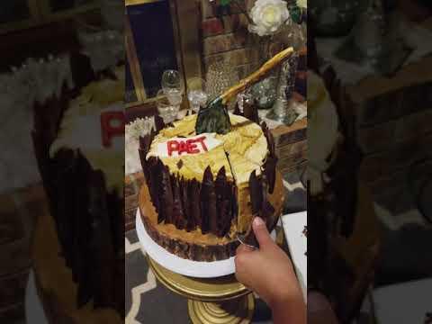 Cutting into my first Lumberjack Birthday Cake