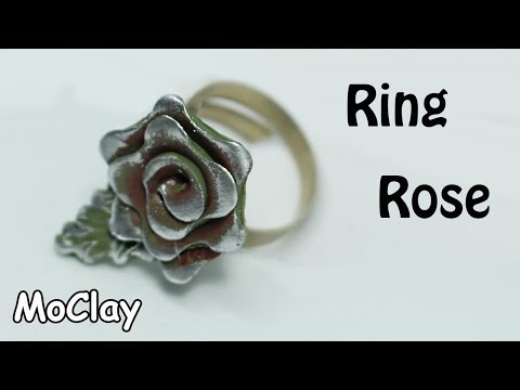 How to make a jewelry ring rose - Polymer clay tutorial