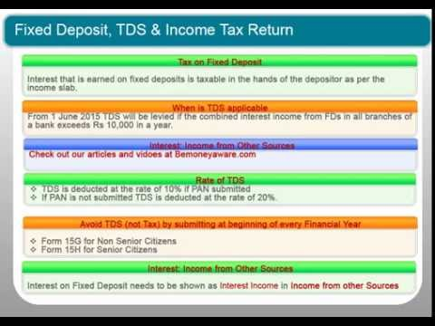Fixed Deposit, TDS on FD and how to show Interest income from FD in ITR