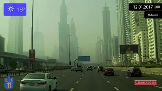 Driving through Dubai (UAE) from Dubai International Airport to Jebel Ali 12.01.2017 Timelapse x4