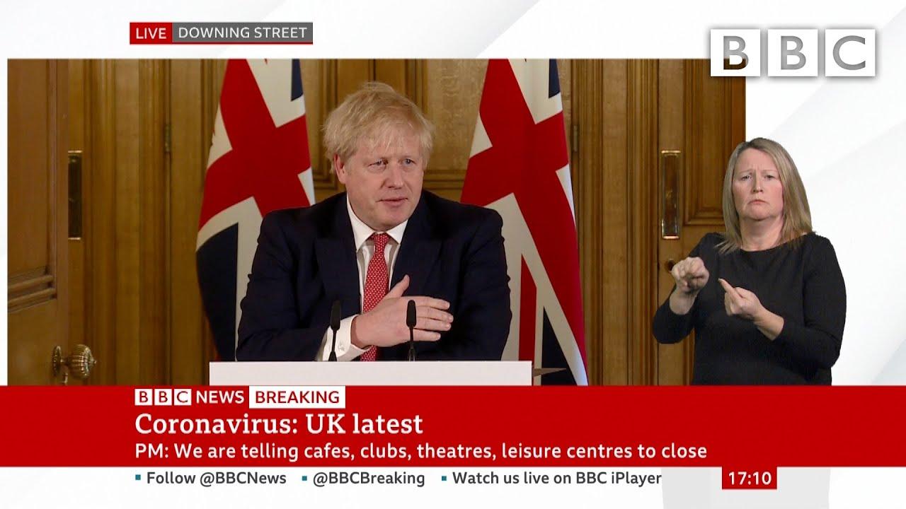 Coronavirus: Boris Johnson tells UK pubs and restaurants to shut in virus fight 🔴 @BBC News - BBC