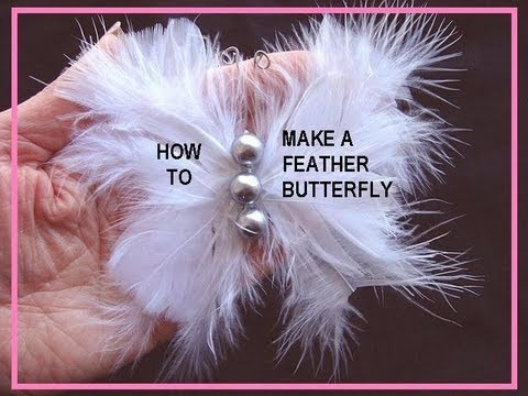 How to make a BUTTERFLY HAIR ACCESSORY WITH FEATHERS, barette, fascinator,  or brooch