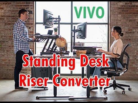 VIVO Height Adjustable Standing Desk Sit to Stand Gas Spring Riser Converter Tabletop Workstation
