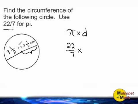 Circumference Of A Circle - Using 22/7 For Pi