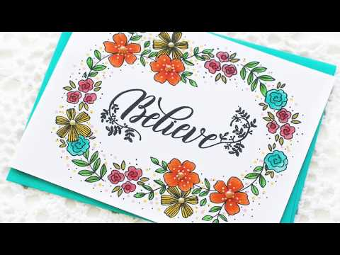 DIY Floral Handmade Card using Pinkfresh Studio Stamps | How to make a floral wreath image