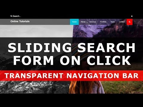 Sliding Search Form On Click And Transparent Navigation Bar Tutorial - CSS Transparent Navbar Design