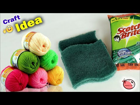 WOW !! Dish Scrubber Craft Idea || DIY Room Decor making at Home || Handmade Things || Wall Hanging